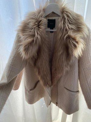 Mantel mit Kunstfell Creme