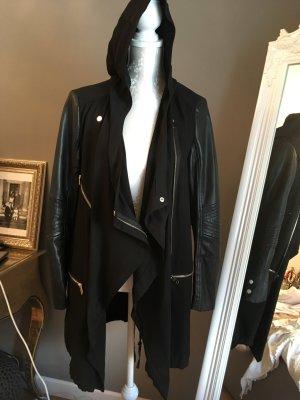 Zara Basic Manteau à capuche noir faux cuir
