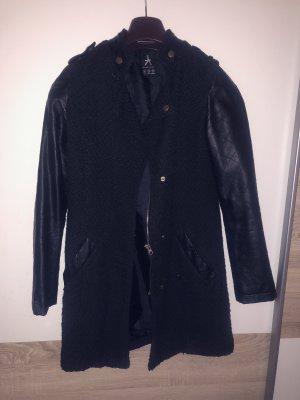 Atmosphere Manteau en cuir noir-doré