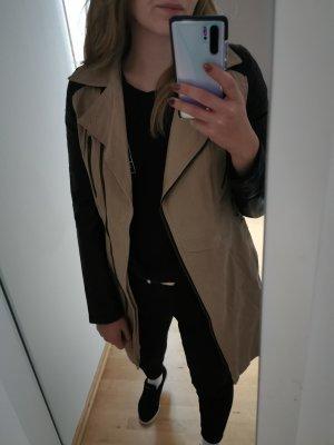 Mantel mit lederärmel
