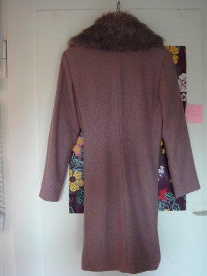 Wełniany płaszcz brązowo-fioletowy-liliowy