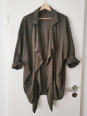 Oversized jas groen-grijs-khaki