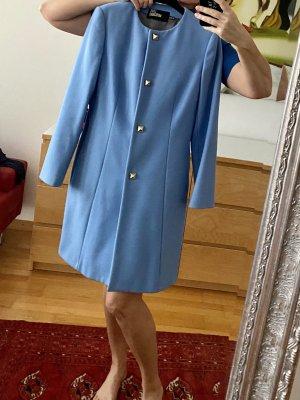 Love Moschino Wełniany płaszcz błękitny