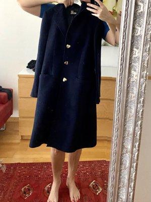 Love Moschino Wełniany płaszcz ciemnoniebieski
