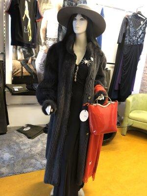100% Fashion Futrzany płaszcz szary