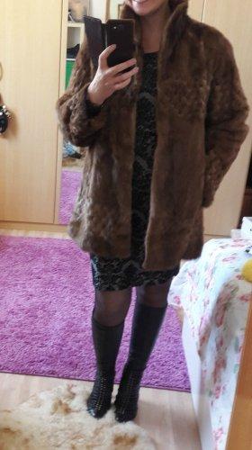 no name Futrzany płaszcz brązowy