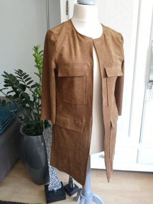 H&M Leather Coat cognac-coloured