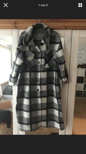 0039 Italy Płaszcz oversize czarny-jasnoszary