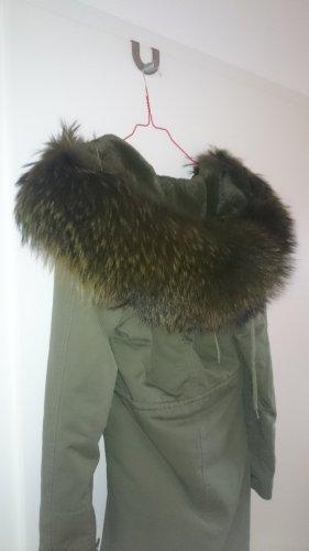 Mantel Parka Jacke khaki grün mit XXL Waschbär EchtPelz in Gr. XS