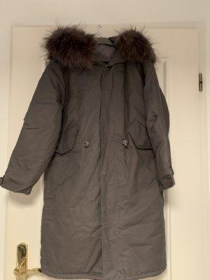 Manteau à capuche gris foncé coton
