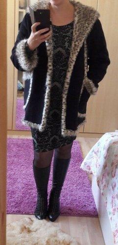 keine Płaszcz ze sztucznym futrem czarny-biały