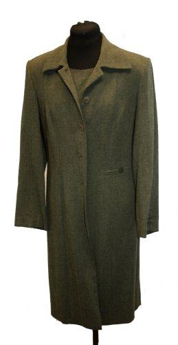 Mantel, Rock und Bluse in olivgrün