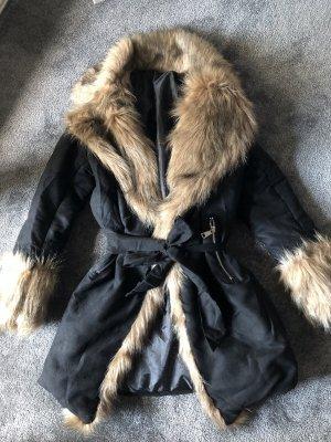 Mantel S NEU Winterjacke Damen Wintermantel schwarz Fell