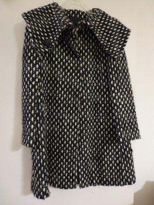 Mantel schwarz-weiß Wolle Größe 38