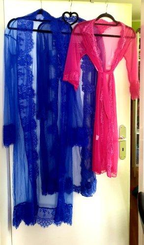 Cappotto lungo fino a terra rosa-blu