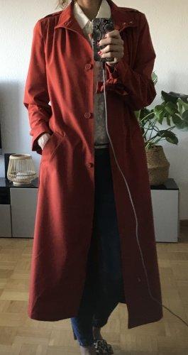 H&M Cappotto lungo fino a terra rosso mattone Poliestere