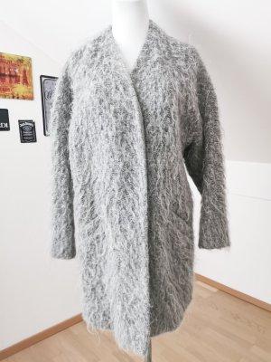 Mantel strick Wolle grau Filz Zara S