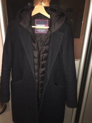 Superdry Manteau à capuche bleu foncé