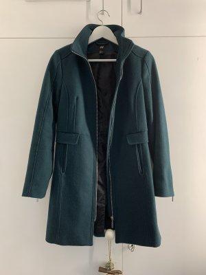 H&M Krótki płaszcz petrol-ciemnozielony