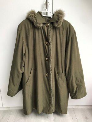 Mantel, vintage (70er Jahre) mit Kaninchenfell zum Herausknöpfen, ca. Gr. 38