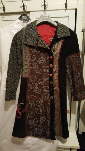 Desigual Krótki płaszcz antracyt-ciemnoczerwony Wełna