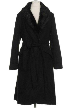 Mantel von H&M mit Pelzkragen und Gürtel Schwarz Gr. 36