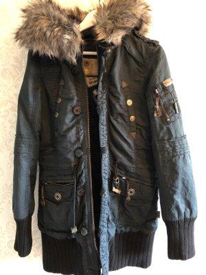 Khujo Manteau à capuche noir-bleu foncé
