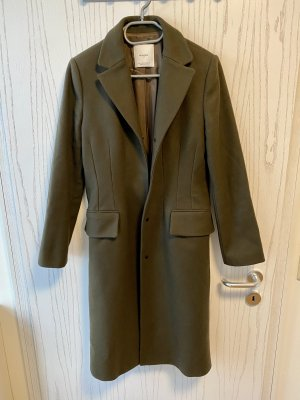 Mango Abrigo de lana verde oscuro