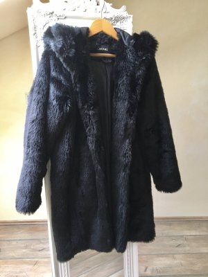 Monki Fake Fur Coat black