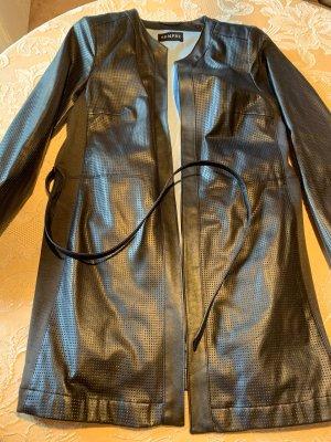 SEMPRE Skórzany płaszcz czarny