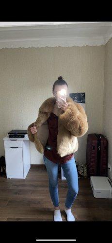 SHACI Manteau en fausse fourrure brun-orange clair