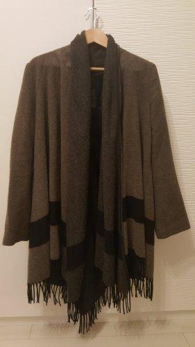 Zara Abrigo de lana marrón-negro