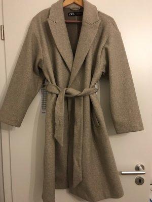 Zara Abrigo ancho beige claro-beige