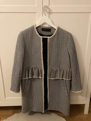 Mantel von Zara Tweed-Optik Rüschen/Volant blau weiß kariert M