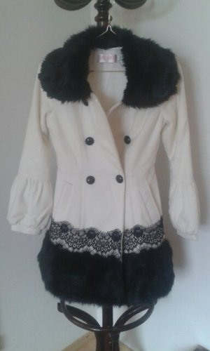 Fleece jas wit-zwart Textielvezel