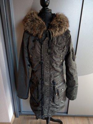 Mantel Wintermantel Fell grau khaki khujo