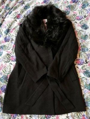 Mantel Wintermatel Kunstpelz-Kragen schwarz elegant H&M Gr. 44