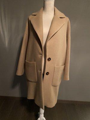 Mantel Wolle Wollmantel Zara beige S