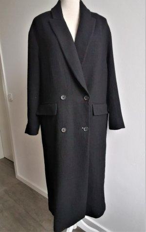 Mantel Wollmantel Übergangsmantel Frühlingsmantel doppelreihig schwarz Zara S XS 34 36 38