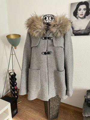 Zara Chaqueta de piel gris claro-marrón claro
