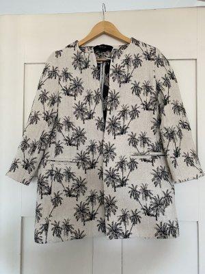 Zara Krótki płaszcz biały-czarny