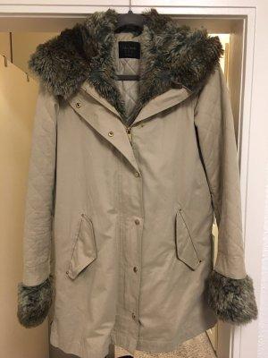 Mantel Zara Parka Fake Fur Jacke beige hellbraun