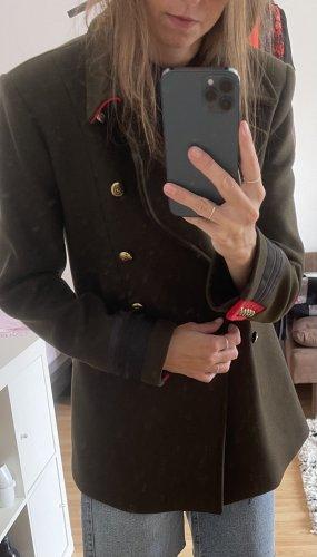 Zara Płaszcz polarowy khaki-ciemnozielony