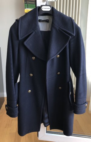 Zara Wool Coat gold-colored-dark blue
