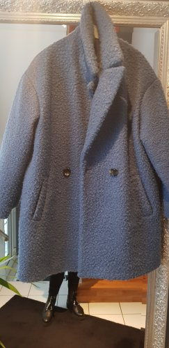 Abrigo de piel sintética azul acero