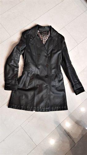Manteau en cuir noir polyuréthane