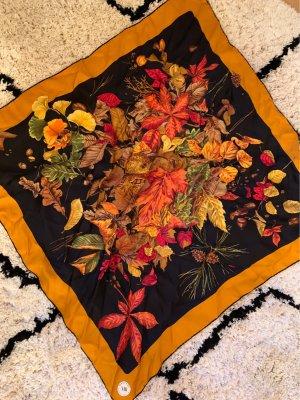 Mantero Jedwabna chusta czarny-ciemny pomarańcz Jedwab