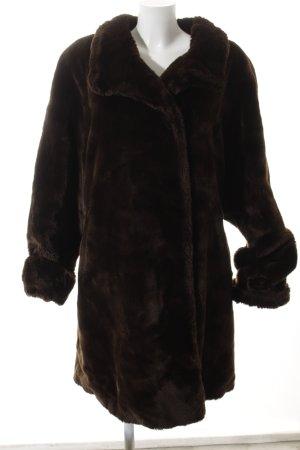 Mara Manzona Giacca in pelliccia marrone scuro stile stravagante