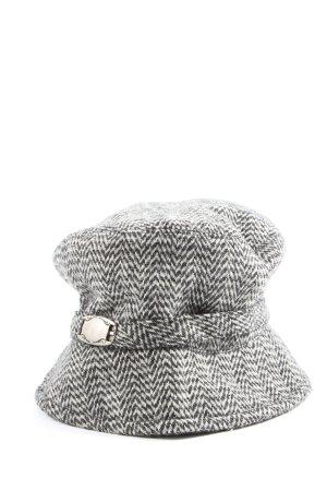 Mara Manzona Wollen hoed wit-zwart grafisch patroon casual uitstraling