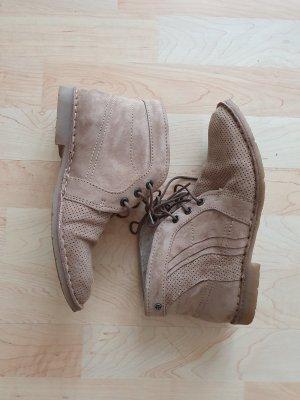 Marc 36 Boots Schnürschuhe Leder beige Stiefeletten